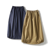 skirt Spring 2021 M, L Navy, yellow brown, l for shopkeeper, hip circumference ≤ 112cm commute Solid color pocket