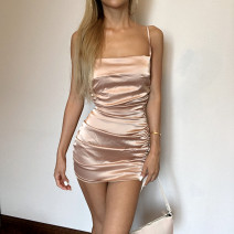 Dress Summer 2020 Champagne S,M,L Short skirt singleton  Sleeveless street One word collar High waist Solid color zipper A-line skirt other camisole Type A 31% (inclusive) - 50% (inclusive) other other Europe and America
