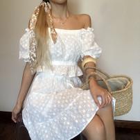 skirt Summer 2020 S,M,L white Short skirt Versatile High waist A-line skirt Solid color Type A 30% and below brocade cotton
