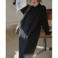 sweater Winter 2020 XS,S,M Black, brown Long sleeves Cardigan singleton  Medium length other 51% (inclusive) - 70% (inclusive) Polo collar Regular commute routine Solid color Straight cylinder Regular wool Ouyang Xi Button Single breasted