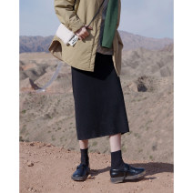skirt Winter 2020 XS,S,M,L longuette commute High waist A-line skirt Solid color Type A 18-24 years old 51% (inclusive) - 70% (inclusive) knitting polyester fiber