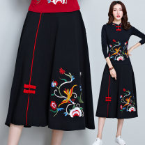 skirt Spring 2020 Average size black longuette commute A-line skirt other Type A 31% (inclusive) - 50% (inclusive) other hemp Embroidery, pocket literature