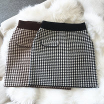 skirt Spring 2020 S,M,L Brown, black High waist houndstooth  Type H