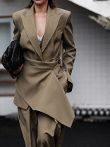 suit Autumn 2020 Black, Khaki S,M,L,XL Long sleeves Medium length Straight cylinder tailored collar A button Original design routine Solid color 30-34 years old 30% and below wool ZIA ZHANG Button, stitching, strap, asymmetry