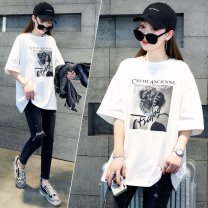 T-shirt Spring 2021 Short sleeve Crew neck Straight tube Regular payment routine commute other 96% and above 25-29 years old originality Letters, characters GCN93302 white One size fits all