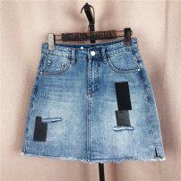 skirt Summer 2021 S,M,L Denim blue Short skirt commute High waist A-line skirt Solid color Type A 25-29 years old Denim Other / other cotton pocket