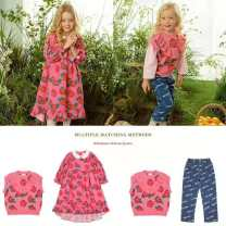 Dress Pink Floral allover knitted vest, rose floral allover dress female 80cm,90cm,100cm,110cm,120cm,130cm,140cm Cotton 100% spring and autumn leisure time Long sleeves Broken flowers cotton A-line skirt
