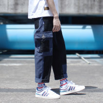 Casual pants Others Youth fashion Black + blue, army green + Khaki S,M,L,XL,2XL thick trousers Other leisure Straight cylinder No bullet Four seasons youth Japanese Retro 2018 middle-waisted Straight cylinder Overalls Color contrast Solid color Fine canvas cotton cotton Original designer