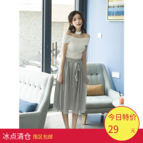 skirt Summer 2017 Average size Peacock green, silver grey Natural waist Pleated skirt 18-24 years old More than 95% Lace qionglou other