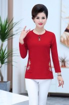 Middle aged and old women's wear Spring of 2019, autumn of 2019 Big red, dark green, caramel, pure black XL (recommended 85-105 kg), 2XL (105-120 kg recommended), 3XL (120-135 kg recommended), 4XL (135-150 kg recommended), 5XL (150-165 kg recommended) commute easy Solid color V-neck Medium length
