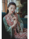 cheongsam Winter 2020 S,M,L Jacquard vest only Long sleeves long cheongsam Retro Low slit daily Oblique lapel 25-35 years old Order drill Nanfeng Valley Cellulose acetate 96% and above