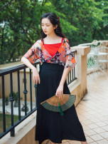 skirt Autumn of 2019 M, L Black, black pre-sale 20 days longuette commute High waist skirt Solid color Type H 25-29 years old 71% (inclusive) - 80% (inclusive) other Nanfeng Valley Cellulose acetate Lace up, strap, splice Retro