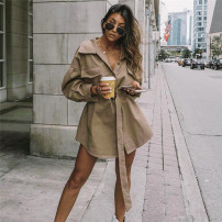 Windbreaker Autumn of 2018 S,M,L Deep Khaki Long sleeves routine Medium length street Single breasted shirt sleeve Solid color Skirt type gagaopt C5236Q 18-24 years old Pocket, lace up 81% (inclusive) - 90% (inclusive) cotton cotton cotton Europe and America