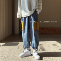 Casual pants Others Youth fashion M,L,XL,2XL,3XL routine Ninth pants Other leisure easy spring teenagers tide 2021 middle-waisted Little feet Overalls Pocket decoration washing Geometric pattern Fashion brand