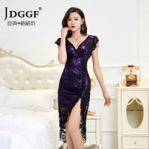Dress Summer 2021 Red, purple, green, blue S,M,L,XL,2XL Middle-skirt singleton  Sleeveless Sweet V-neck High waist Socket One pace skirt Flying sleeve Others 30-34 years old 51% (inclusive) - 70% (inclusive) Lace polyester fiber princess