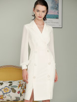 Dress Winter of 2019 white XL,L,M,S singleton  Long sleeves commute tailored collar middle-waisted Solid color zipper Pencil skirt 30-34 years old Type H Other / other Ol style T3085