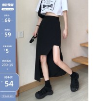 skirt Summer 2020 S,M,L,XL,2XL black Mid length dress Versatile High waist Irregular Solid color Type A 18-24 years old 31% (inclusive) - 50% (inclusive) other Other / other Asymmetric, zipper