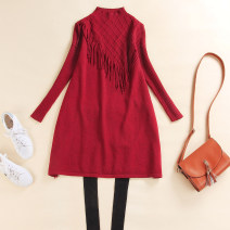 Dress Winter of 2018 Red, black, coffee M,L,XL,2XL Mid length dress singleton  Long sleeves commute stand collar middle-waisted Solid color Socket A-line skirt routine Others 30-34 years old Type A Simplicity 51% (inclusive) - 70% (inclusive) knitting Cashmere