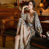 Dress Autumn of 2019 Decor S,M,L longuette singleton  Long sleeves commute V-neck Loose waist Decor Socket Big swing routine Others 25-29 years old Type A lady Lace up, stitching, lace, print 71% (inclusive) - 80% (inclusive) Lace