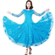 Modern dance suit (including performance clothes) ohter waltz Net long sleeve blue net blue flower dress 8 flowers M,L,XL,XXL,XXXL