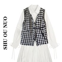 Dress Spring 2021 Black and white check S, M Miniskirt Two piece set Long sleeves commute square neck High waist lattice Single breasted Ruffle Skirt shirt sleeve Type A 30% and below