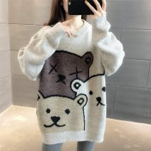 sweater Winter 2020 Average size Black, grey, apricot, dark blue Long sleeves Socket singleton  Regular other 95% and above Crew neck thickening commute routine Cartoon animation Straight cylinder Regular wool Keep warm and warm 18-24 years old Chevensie XFX7007 Splice, threaded