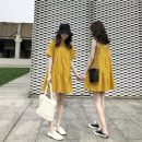 Dress Summer of 2019 Yellow sleeveless dress, yellow short sleeve dress S,M,L,XL Short skirt singleton  Short sleeve Sweet V-neck High waist Solid color Socket A-line skirt other straps 18-24 years old Other Splicing SSYL273 More than 95% other Mori