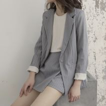 Professional pants suit Light grey XS,S,M,L,XL Spring 2020 loose coat Long sleeves Pant Other / other 18-25 years old 91% (inclusive) - 95% (inclusive) polyester fiber
