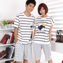 Pajamas / housewear set lovers Other / other cotton Short sleeve motion Sports Home summer Thin money Crew neck stripe Pant Socket youth 2 pieces rubber string 61% (inclusive) - 80% (inclusive) Knitted cotton fabric printing 200g and below