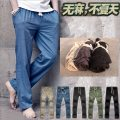 Casual pants Lihomme / calendar weaving Fashion City Dark grey, khaki, army green, denim blue, pure black thin trousers Other leisure easy No bullet K1401H autumn youth Chinese style 2020 middle-waisted Straight cylinder Cotton 69% flax 31% Beach pants Pocket decoration washing Solid color other hemp