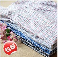 Pajamas / housewear set female M,L,LL cotton Short sleeve Simplicity Leisure home summer Thin money Crew neck lattice Socket 2 pieces More than 95% Woven cotton fabric Lotus leaf edge Middle-skirt