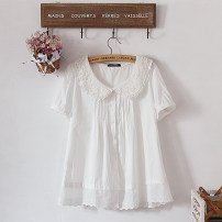 shirt Pure white XS,S,M,L,XL,2XL,3XL Summer 2021 cotton 96% and above Short sleeve Sweet Regular Doll Collar Single row multi button routine Solid color Under 17 Straight cylinder Other / other Gouhua, hollowed out, pleated solar system