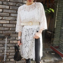 Dress Autumn 2016 Average size Mid length dress singleton  elbow sleeve commute Crew neck Solid color Socket routine 18-24 years old Hollowing out 30% and below Lace other