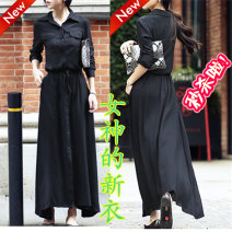 Dress Fall 2017 Black long sleeves, black short sleeves S,M,L,XL,2XL longuette singleton  Long sleeves commute Polo collar Elastic waist Solid color Single breasted other other Others 18-24 years old Fashion street Korean version Bowknot, fold, pocket, lace up, stitching, button