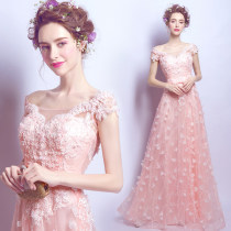 Dress / evening wear Annual meeting performance of wedding and adult party company XSSMXXXLXXLXLL Pink Korean version longuette middle-waisted Winter 2016 Fall to the ground Deep collar V Bandage 18-25 years old two thousand five hundred and sixty-one flower Princess tribe Handmade flowers