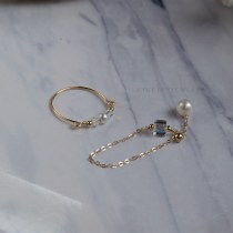 Ring / ring other 51-100 yuan Other / other Color crystal pearl ring (please note the size) adjustable pearl pendant chain ring ring ring set, package mail! (please note the size)
