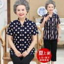 Middle aged and old women's wear Summer of 2018 fashion shirt easy Two piece set Dot Over 60 years old Cardigan thin square neck routine routine Button other 81% (inclusive) - 90% (inclusive) Single breasted Short sleeve Ninth pants
