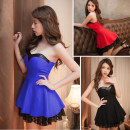 Dress Summer 2021 Black, red, blue Average size Short skirt singleton  Sleeveless Sweet One word collar High waist Solid color Socket Princess Dress other Breast wrapping 18-24 years old Type A Lace polyester fiber princess
