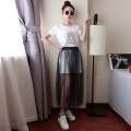 skirt Summer 2017 Average size White, gray, black Mid length dress Versatile High waist Pleated skirt Solid color Type A Holes, hollows, pleats, bright silk, waves, gauze, stitching