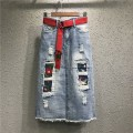 skirt Summer of 2018 S,M,L,XL,2XL Picture color Mid length dress Versatile Natural waist skirt Solid color Type H 51% (inclusive) - 70% (inclusive) Denim cotton Holes, hand worn, embroidery, pockets