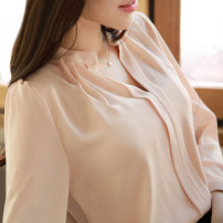 shirt S M L XL Spring 2020 polyester fiber 96% and above Long sleeves commute Regular stand collar Socket routine Solid color 25-29 years old Neusier Korean version C8803 Polyester 100%