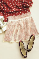 skirt S, M White 205691, Retro Red 205692 Short skirt Sweet Umbrella skirt Solid color 18-24 years old More than 95% Lace polyester fiber Bowknot, hollowed out, pleated, three-dimensional decoration, gauze, lace solar system
