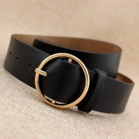 Belt / belt / chain Pu (artificial leather) female belt Versatile Single loop Middle aged youth Pin buckle Round buckle Glossy surface 3.7cm alloy