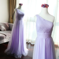 Dress / evening wear Wedding, adulthood, party, company annual meeting, show, date XXL, s, m, l, XL, customized size (non refundable) Custom made color (non refundable), lavender purple (bandage) grace longuette middle-waisted Spring of 2018 Fall to the ground Single shoulder type zipper Netting