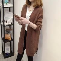 Wool knitwear Spring 2017 Average size Coffee Navy Purple Red Army Green Long sleeves singleton  Cardigan Medium length routine commute V-neck routine