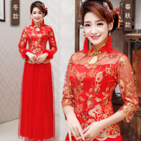 cheongsam Winter 2015 XXL,XXXL,XS,S,M,L,XL Red quarter sleeves, red and cotton winter clothes three quarter sleeve Qipao Retro No slits wedding Ruyi lapel Solid color 18-25 years old Piping Brocade