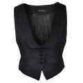 Vest Fall 2017 black XS,S,M,L,XL have cash less than that is registered in the accounts Doll Collar Original design Solid color Single breasted I-shaped 25-29 years old Other / other 96% and above nylon Pocket, button