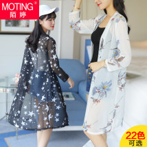 short coat Summer 2017 LXL2XL Nine point sleeve Medium length Thin money singleton  Self cultivation commute routine other Plants and flowers 18-24 years old Mo Ting printing Eight hundred and sixty-three Polyester 100% Pure e-commerce (online only)