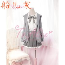 short coat Spring 2016 S, M Coat, shirt, skirt routine Three piece set High waist type Sweet Crew neck Solid color 18-24 years old Ruffles, folds