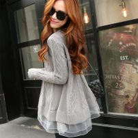 sweater Winter of 2019 Average size Long sleeves Socket singleton  Medium length cotton 95% and above Crew neck thickening Sweet routine Regular wool Keep warm and warm Lace